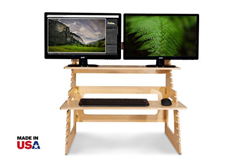 Dual Monitor Standing Desk | Converts Any Desk to an Adjustable Stand Up Desk in 60 Seconds | Helps Relieve Back Pain | Fits Two Monitors | Suits People 5' to 6' 3