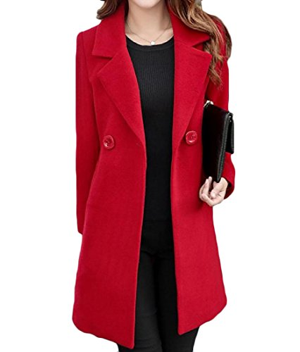 (Coolred Women Wool Mid Length Pure Color Plus Size All-match Peacoats Red 3XL)