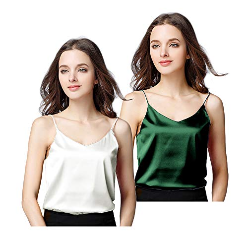 (Basic Women's Silk Tank Top Ladies V-Neck Camisole Silky Loose Sleeveless Blouse Tank Shirt with Soft Satin)