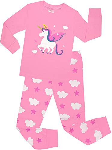 Little Girls Horse Pajamas Set Children Christmas PJs 100% Cotton Sleepwear Size 8 Years ()
