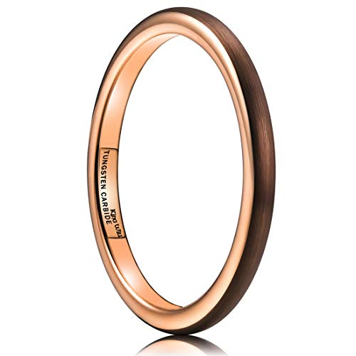 King Will Duo 2mm Dome Brown Tungsten Carbide Wedding Band Ring Rose Gold Inside Comfort Fit 6