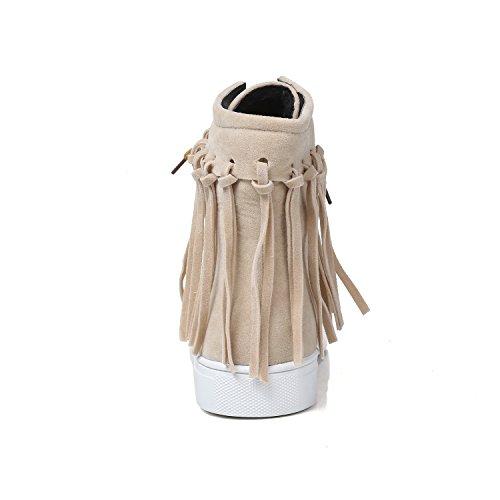 Carolbar Damestassen Kwasten Retro Fashion Vintage Comfort Lace Up Korte Laarzen Beige-abrikoos