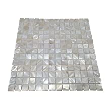 Oyster Mother of Pearl Square Shell Mosaic Tile for Kitchen Backsplashes, Bathroom Walls, Spas, Pools
