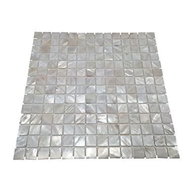 Oyster Mother of Pearl Square Shell Mosaic Tile for Kitchen Backsplashes, Bathroom Walls, Spas, Pools By Vogue Tile (Installation Instructions Included)