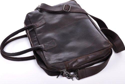 URBAN FOREST, Cntmp, Unisex Messengerbags, Ledertasche, Vintage-Optik, Business-Bags, Aktentaschen, Laptoptaschen, Notebooktaschen, Umhängetaschen, DIN-A4, Leder, Cognac, 41x30x12cm (B x H x T) Dunkelbraun