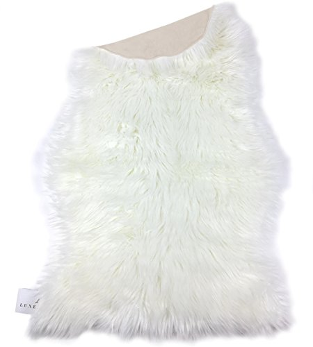 LuxeLife Premium Faux Australian Sheepskin Rug By Cruelty-Free & Eco Friendly Decorative Fur Throw Cover - Non-Toxic & Hypoallergenic - 2ft x 3.2ft Longer Size - Ivory - Sheepskin Synthetic