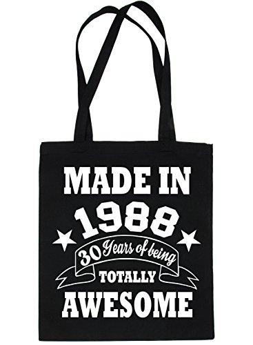 Print4u Shopping Tote Bag For Life Born In 1998 30th Birthday Black