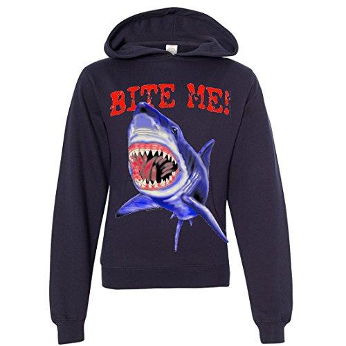 Bite Me Great White Shark Youth Sweatshirt Hoodie - Navy Medium