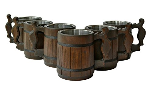 Handmade Beer Mug Oak Wood Stainless Steel Cup Gift Natural Eco-Friendly Wooden Tankard 0.6L 20oz Classic Brown (Set of 6 Mugs)