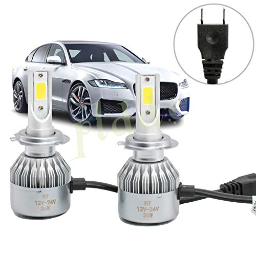 PLDDE 2pcs H7 6000K Cool White 7200LM All-in-One LED COB Bulbs Conversion Kit For Headlights High Low Beam Driving Fog Light DC 12V/24V IP67 Waterproof Pack of 2 Driver+Passenger Replacement