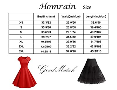 Homrain Women's 1950s Retro Vintage A-Line Long Sleeves Cocktail Swing Party Dress