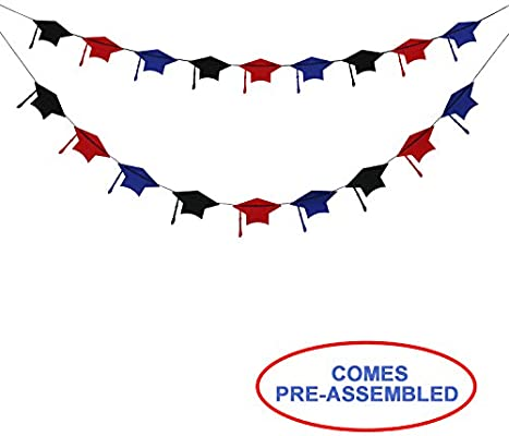 Amazon Com Felt Graduation Caps Banner Garland 2018 Graduation
