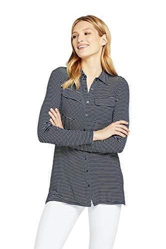 Lands' End Women's Long Sleeve Stripe Button Down Tunic, XS, Deep Sea Stripe Button Down Long Sleeve Jersey