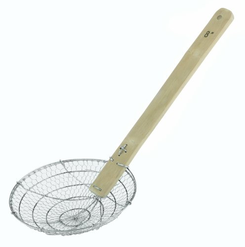 Paderno World Cuisine 7-7/8-Inch Long Chinese Deep Frying Skimmer, Coarse Mesh -