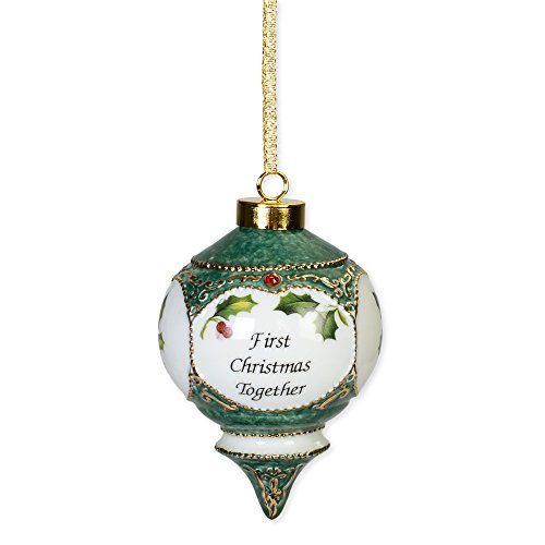 CBE First Christmas Together Holly Berries Red Jewel Victorian 4.5 in. Ball Christmas -
