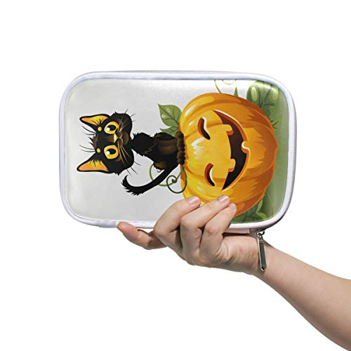 FANTAZIO Black Cat On Halloween Pumpkin Pencil Case Big Capacity Pen Bag Makeup Pouch Durable Students Stationery Perfect Gift for -