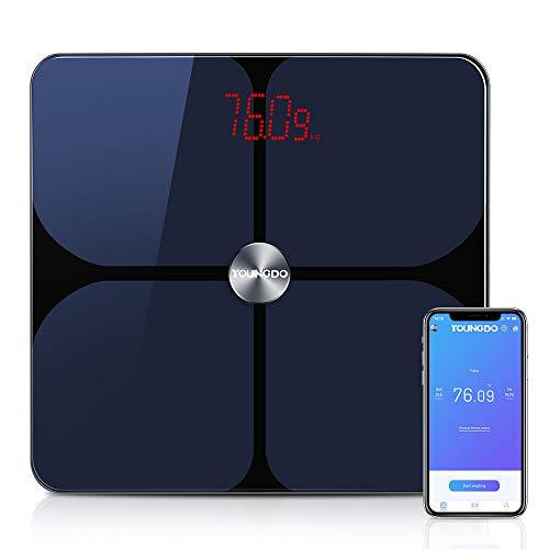 YOUNGDO 体重計 体脂肪計 体組成計 Bluetooth スマホ連動 23種類測定可能 体重/体脂肪率/体水分率/推定骨量/基礎代謝量/BMIなど スマートスケール iOS/Androidアプリで健康管理・肥満予防 日本語APP対応 ヘルスケア・Fitbit・Google Fitと連携 999ユーザー登録可能