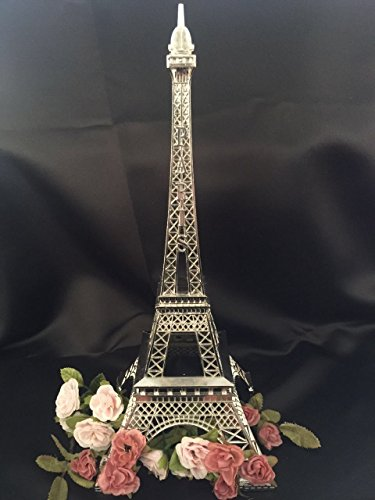 Ethrift 15 Inch (38cm) Silver Metal Eiffel Tower Statue Figurine Replica Centerpiece