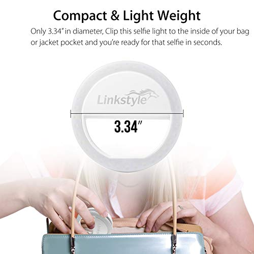 Selfie Ring Light Rechargeable, 36 LED Dimmable Clip on Selfie Light Portable for iPhone iPad Android Camera Phtography Video Make up White (1 Pack) by LinkStyle (Image #3)