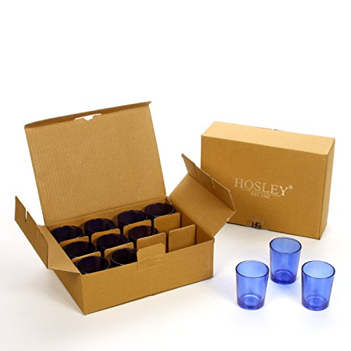 Hosley Set of 24 Blue Glass Votive/Tea Light Holders. Ideal Gift for Weddings, Party, Spa, Aromatherapy Tealight Gifts, LED Votive Candle Gardens O3
