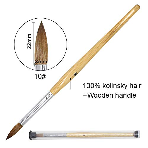 (MITINI 100% Pure Kolinsky Sable Hair Acrylic Nail Brush with OVAL Shaped Wood Handle Pro Salon Quality Nail Art Tool For Acrylic Powder Manicure Pedicure - Size #8#10 (size 10))