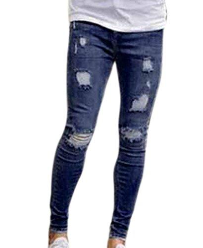 Pantalones Vaqueros de Hombre Pantalones Vaqueros Pitillo Desgastados Elásticos Destruidos Pantalones de Mezclilla Slim fit con Cinta Azul Oscuro 1