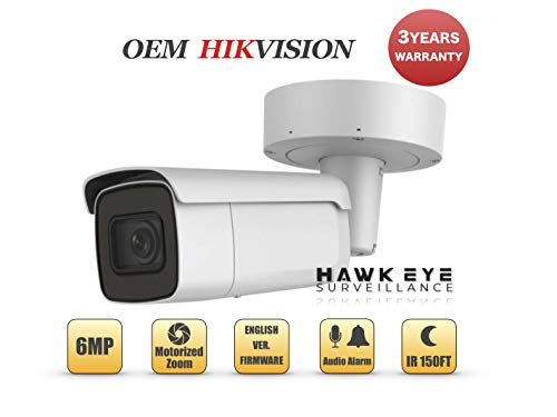 (6MP PoE Security IP Camera - Compatible with Hikvision Performance Series DS-2CD2665G0-IZS Varifocal Bullet,Indoor and Outdoor,Motorzied Lens 2.8-12mm IR Night Vision English Version 3 Year Warranty)