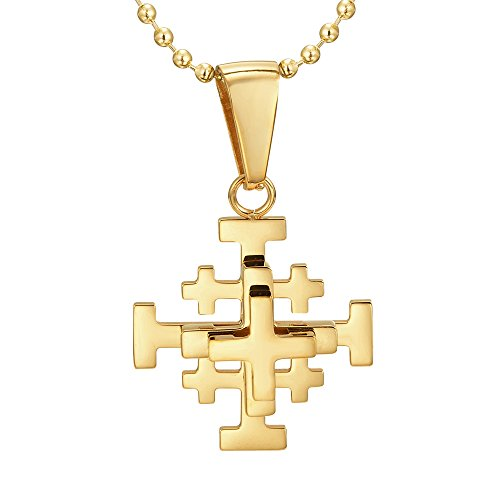 "Willis Judd Jerusalem Cross Pendant Necklace IP Plated Stainless Steel with 22"" Ball Chain and Gift Pouch"