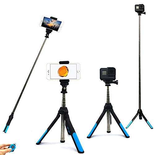 Bluetooth Selfie Stick Tripod, 2 in 1 Extendable Selfie Stick with Wireless Remote and Tripod Stand Selfie Stick for iPhone X/iPhone 8/8 Plus/iPhone 7/iPhone 7 Plus/Galaxy S9/S9 Plus/Note 8/S8/S8 Plus
