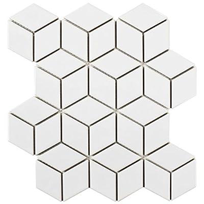 """SomerTile FMTRHOGW Retro Rhombus Porcelain Mosaic Floor & Wall Tile, 10.5"""" x 12.125"""", Glossy White"""