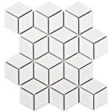 SomerTile FMTRHOGW Retro Rhombus Porcelain Mosaic Floor & Wall Tile, 10.5'' x 12.125'', Glossy White