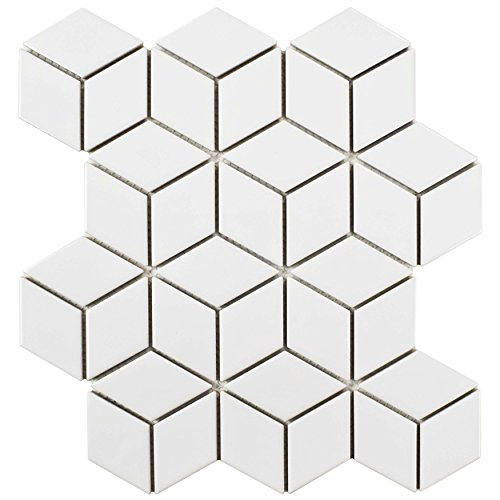 SomerTile FMTRHOGW Retro Rhombus Porcelain Mosaic Floor & Wall Tile, 10.5'' x 12.125'', Glossy White by SOMERTILE