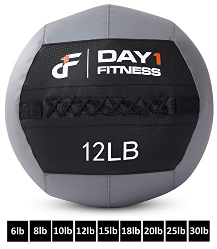 Day 1 Fitness Soft Wall Medicine Ball 12 Pounds - for Exercise, Physical Therapy, Rehab, Core Strength, Large Durable Balls for TRX, Floor Exercises, Stretching