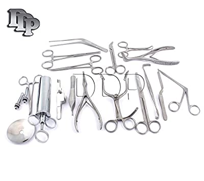 Ddp New Set Of 16 Pcs ( Ent ) Ear And Nose Instruments Forceps Vienna Nasal Speculum Hartman Alligator ! Ear Syringe Scissors