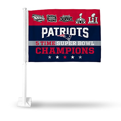 NFL New England Patriots 5 Time Super Bowl Champions Car Flag by Rico