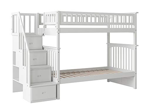 Atlantic Furniture AB56602 Woodland Staircase Bunk Bed with Staircase Bunk, Twin/Twin, White