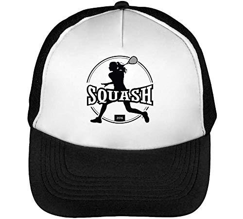 Sport Badge Squash Gorras Hombre Snapback Beisbol Negro Blanco
