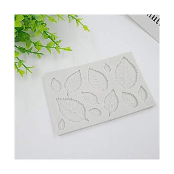Hosaire - Stampo da pasticceria, pratico, in silicone, per gelato fondente 3D, a forma di foglie, bricolage, decorazione, mini stampi per sapone 6 spesavip