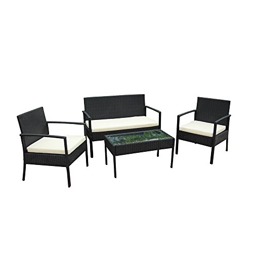 ALEKO RTFS7502BL Linosa 4 Piece Polyethylene Wicker Rattan Outdoor Patio Deck Furniture Set Coffee Table Love Seat with Cushions Black and ()