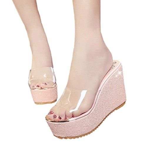ebe08e8941c4 True Meaning New design Women s Non-Slip Transparent Slide Sandals Bling  Glitter Platform Wedge Beach