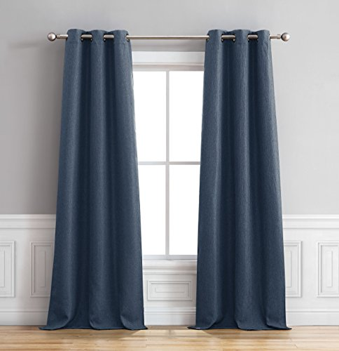 "Bella Luna Henley Curtain Panel Pair, 76"" x 96"", Indigo"