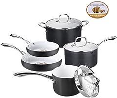 Lot de casseroles et de poêles non-adhésives classiques, Céramique, noir, 8-piece