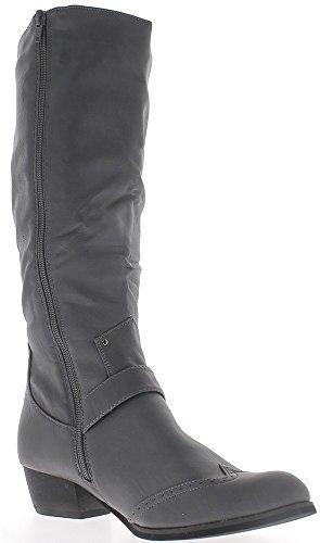 Bottes femmes grises à talon western de 4 cm doublées