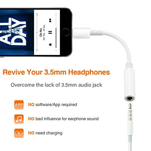 Support Calling /& Music Control for Headphone Adapter for iPhone 2 Pack Lightning to 3.5mm AUX Earphone Audio Stereo Compatible with iPhone 12//12 Pro//11//XS//XR//X//8 7 6//iPad//iPod Apple MFi Certified