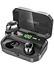 OKIMO Wireless Earbuds Bluetooth 5 Headphones with 3500mAh LED Charging Case, IPX7 Waterproof TWS Stereo Earphones in Ear, Hands-Free Headset with Mic, Touch Control, 125 Hours Playback for for Work / Home Office (Black)
