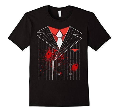 Mens Bloody Gangster Costume Shirt Halloween Mafia XL Black - 1920 Scary Halloween Costumes