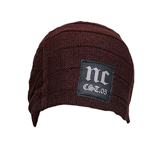 Ukallaite Our Fashion Century - Gorro de Punto de Ganchillo para Hombre, Color Azul Marino, Gris café