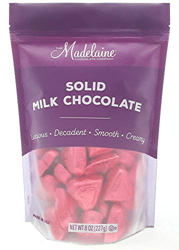 Madelaine Solid Premium Milk Chocolate Mini Hearts Wrapped In Italian Foil (Red, 1/2 LB) ()