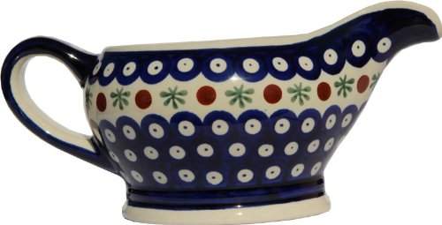 Polish Pottery Gravy Boat 16 Oz. From Zaklady Ceramiczne Boleslawiec #1258-41 Traditional Pattern, Capacity 16 Oz.