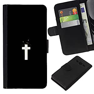 LECELL--Cuero de la tarjeta la carpeta del tirón Smartphone Slots Protección Holder For Samsung Galaxy A3 -- Negro Cruz Blanca --